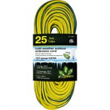 Gogreen Power - Cold Weather Outdoor Extension Cord 12/3 Gauge - Yellow - 25 Foot