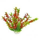 Aquatop Aquatic Supplies - Aquarium Plant With Weighted Base - Green/Red - 6 Inch