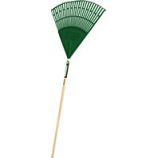 Truper Tools  - Tru Tough Poly Leaf Rake - Green/Wood - 48 Inch