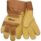 Kinco International-Lined Suede Pigskin Glove-Tan & Brown-Medium