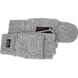Boss Manufacturing -Fingerless Ragg Wool Fingerless Glove W/ Mitt Flap-Gray-Large