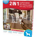 Carlson Pet Products - 2 In 1 Super Wide Pen & Gate W/Door Brackets - White - 144Wx28H Inch
