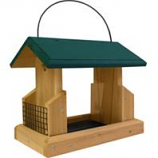 Welliver Outdoors - Hopper Feeder Deluxe Cedar With Suet Holders-Natural/Green-13X7.25X10.75