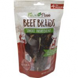 Ims Trading Corporation - Farm To Paws Beef Braids - Beef - Medium/4 Pack