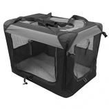 Multipurpose Pet Soft Crate with Fleece Mat - Black/Gray - Large