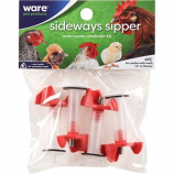Ware Mfg - Sideways Sipper Nipples With Extension Tubes - Red/Clear - 4 Pack