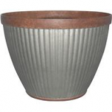 Southern Patio - Pleated Round-Rustic Planter - Galvanized - 20 Inch
