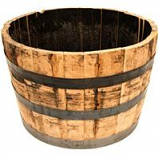 Real Wood Products Co Inc - Half Oak Whiskey Barrel Planter-Brown-26 X17