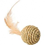 Ethical Cat - Seagrass Ball W/Feathers Cat Toy - Assorted - 2.5In