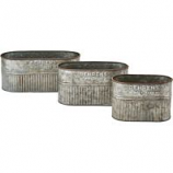 Behrens Manufacturing - Embossed Aged Galv. Nesting Oval Tubs - 11.5 Inch/Set Of 3