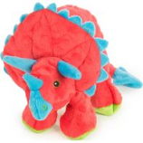Quaker Pet Group - Godog Dinos Frills Durable Plush Squeaker Dog Toy - Red - Large