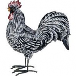 Exhart - Rooster Statue - Black/White Stripes