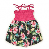 Casual Canine - Hawaiian Breeze Sundress - Small/Medium - Black/Pink