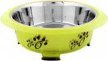 Iconic Pet - Color Splash - Designer Oval Fusion Bowl - Medium- Green - for Dog/Cat - 28 Oz